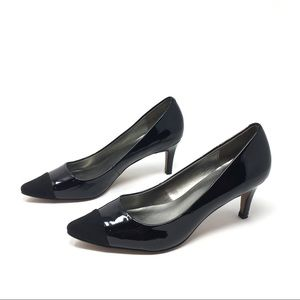 LOFT black patent kitten heel pumps 7M